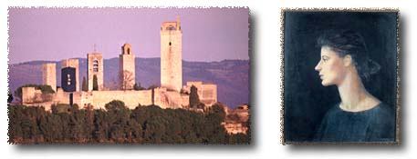 San Gimignano from our lawn, and Elisabetta Fagiuoli